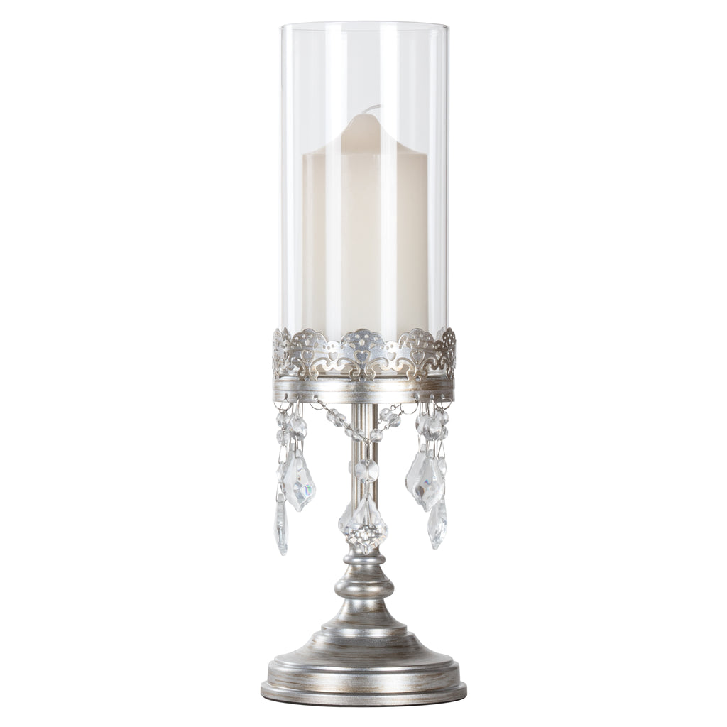 Sophia Vintage Silver Hurricane Candle Holder by Amalfi Decor