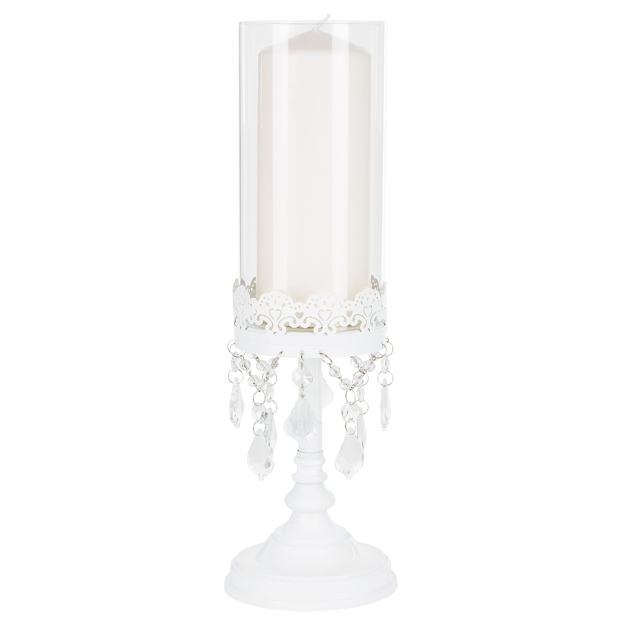 Amalfi Decor 15 Inch Tall Crystal-Draped Glass Hurricane Candle Holder (White) | Stainless Steel Frame with Glass Crystals