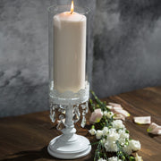 Sophia White Hurricane Candle Holder by Amalfi Decor