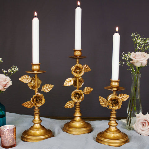 Vintage Gold Floral Candelabra Candle Holder Set of 3 by Amalfi Decor