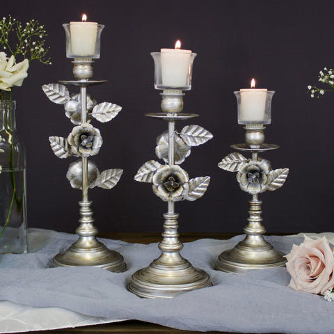 Vintage Silver Floral Candelabra Candle Holder Set of 3 by Amalfi Decor