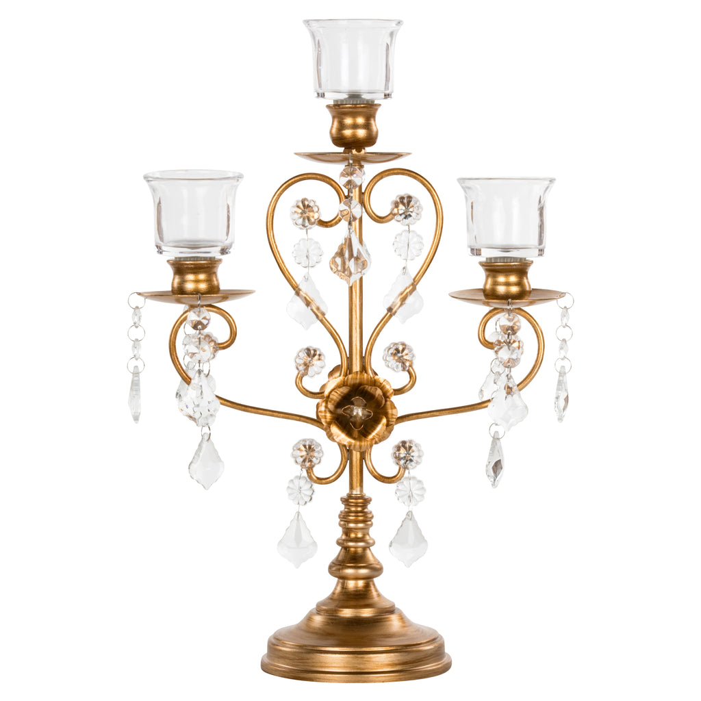 Madeleine Vintage Gold 3-Light Candelabra Centerpiece by Amalfi Decor
