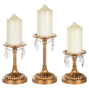 Victoria 3-Piece Vintage Gold Pillar Candle Holder Set by Amalfi Decor