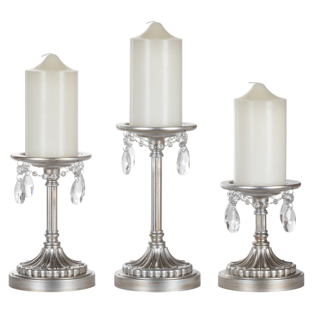 Victoria 3-Piece Vintage Silver Pillar Candle Holder Set by Amalfi Decor