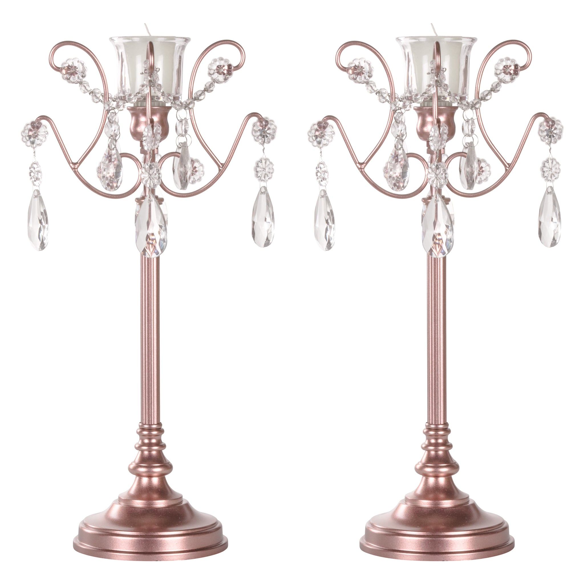 Amalfi Decor 2-Piece Metal Candlestick Candelabra Set with Glass Crystals (Rose Gold) | Stainless Steel Frame with Glass Crystal