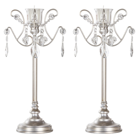 1 Light Silver Candlestick Holder Votive Accent Set by Amalfi Decor