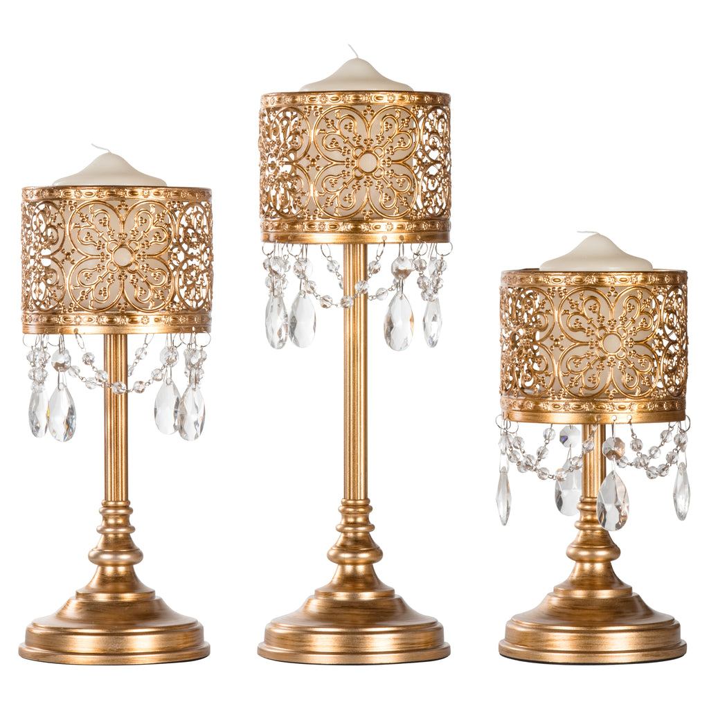 3-Piece Vintage Gold Hurricane Pillar Candle Holder Set by Amalfi Decor
