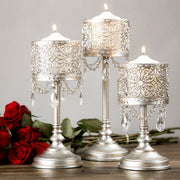 3-Piece Vintage Silver Hurricane Pillar Candle Holder Set by Amalfi Decor