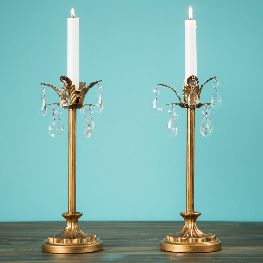 Gold 1 Light Palm Tree Candlestick Holder Set Amalfi Decor