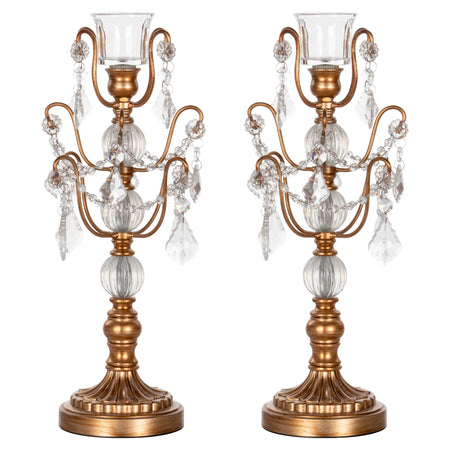 Amalfi Decor 2-Piece Gold Chandelier Candlestick Candelabra Set with Glass Crystals
