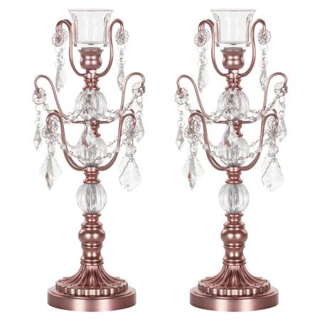 Amalfi Decor 2-Piece Rose Gold Chandelier Candlestick Candelabra Set with Glass Crystals