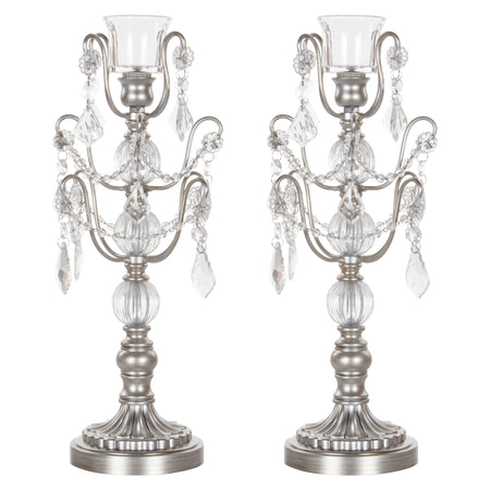 Amalfi Decor  2-Piece Silver Chandelier Candlestick Candelabra Set with Glass Crystals