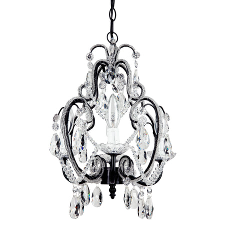 Amalfi Decor Tiffany Mini 4-Light Black Crystal Beaded Plug-In Chandelier