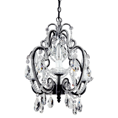 Amalfi Decor Tiffany Mini 4-Light Black Crystal Beaded Plug-In Chandelier Dimensions