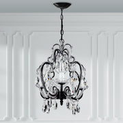4 Light Beaded Crystal Plug In Chandelier (Black)