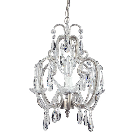 Amalfi Decor Tiffany Mini 4-Light Silver Crystal Beaded Plug-In Chandelier