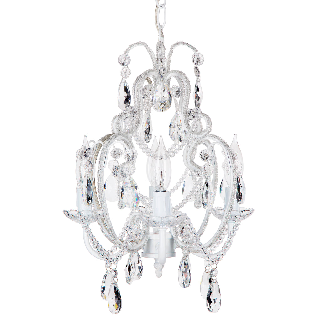 Amalfi Decor Tiffany Mini 4-Light White Crystal Beaded Plug-In Chandelier