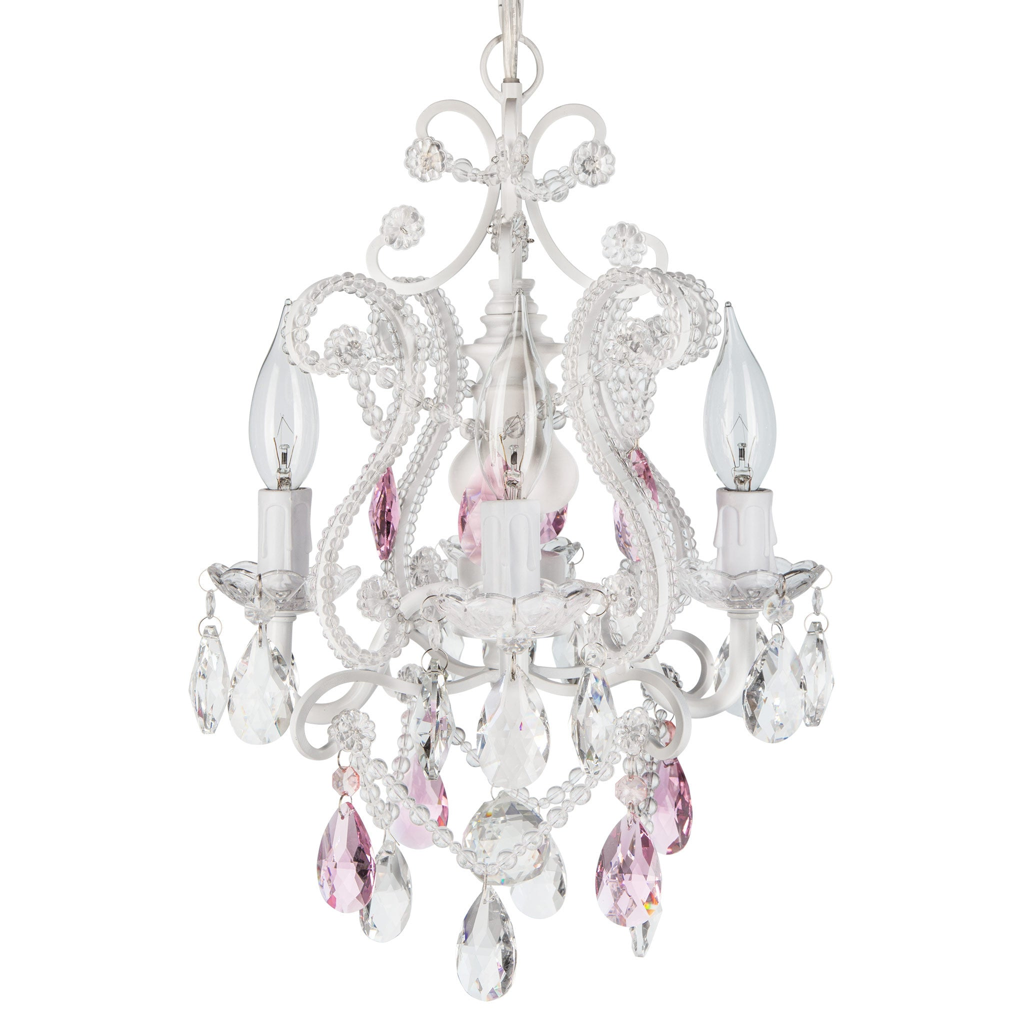 Amalfi Decor 4 Light Mini Crystal Beaded Plug-In Chandelier (White w/ Pink Crystals) | Wrought Iron Frame with Glass Crystals