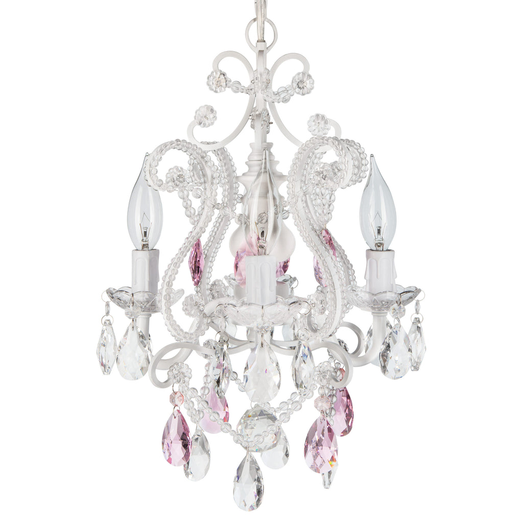 Amalfi Decor White Mini 4-Light Pink Crystal Beaded Plug-In Nursery Chandelier