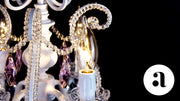 4 Light Mini Crystal Beaded Plug-In Chandelier (White w/ Pink Crystals)