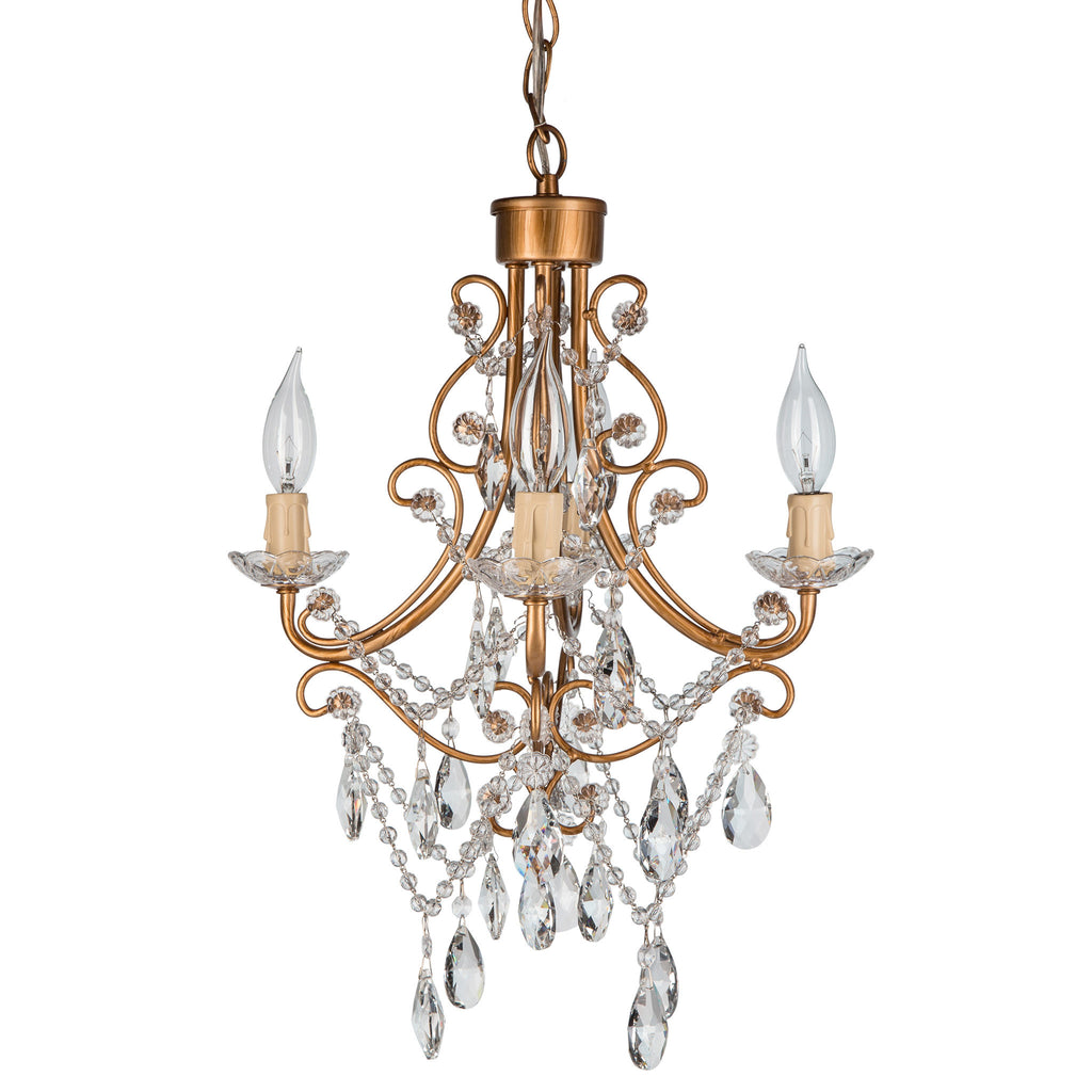 amalfi decor madeleine antique gold 4light crystal plugin chandelier