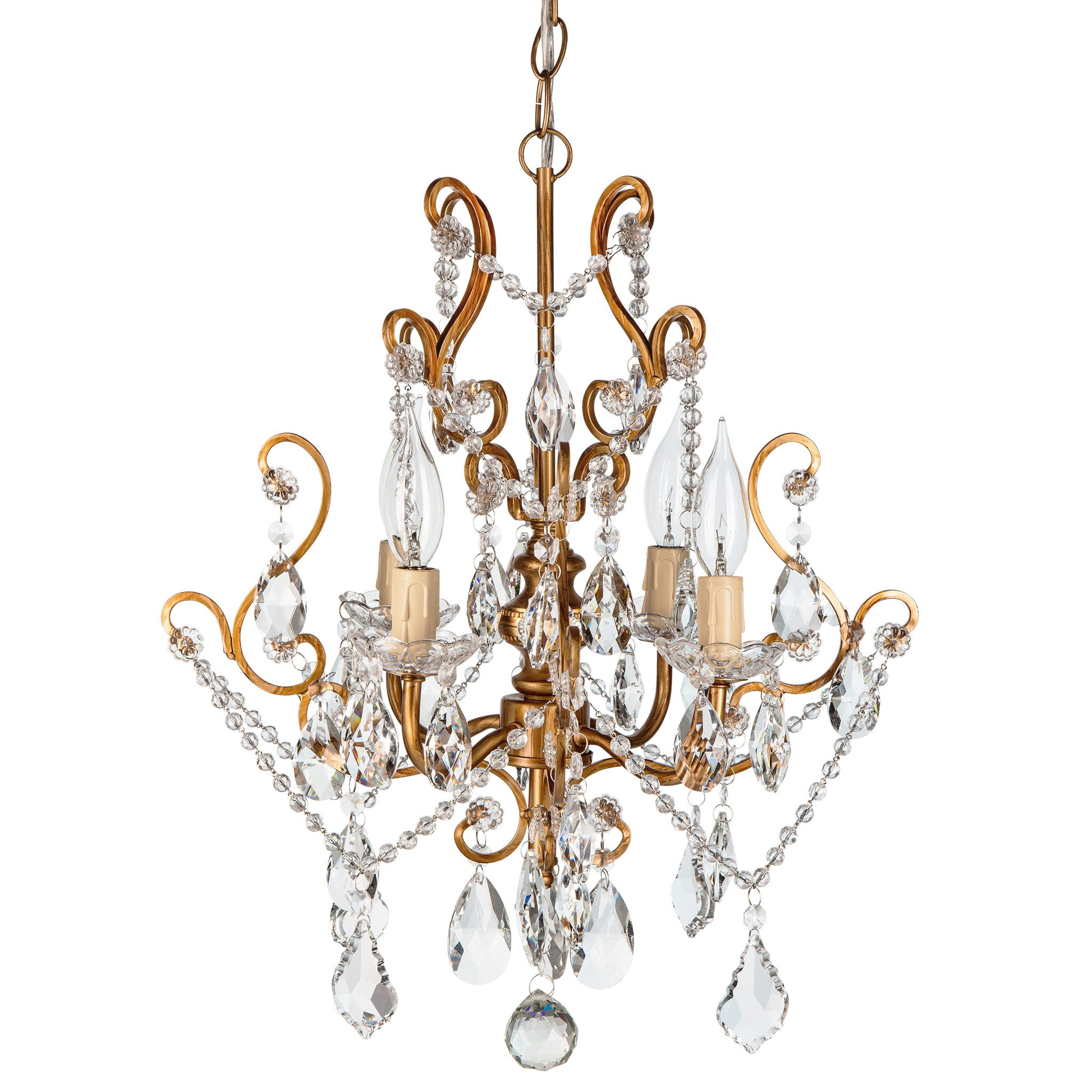 Amalfi Decor 4 Light Vintage Crystal Plug-In Chandelier (Gold) | Wrought Iron Frame with Glass Crystals