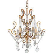 Amalfi Decor Theresa 4-Light Vintage Gold Crystal Pendant Chandelier