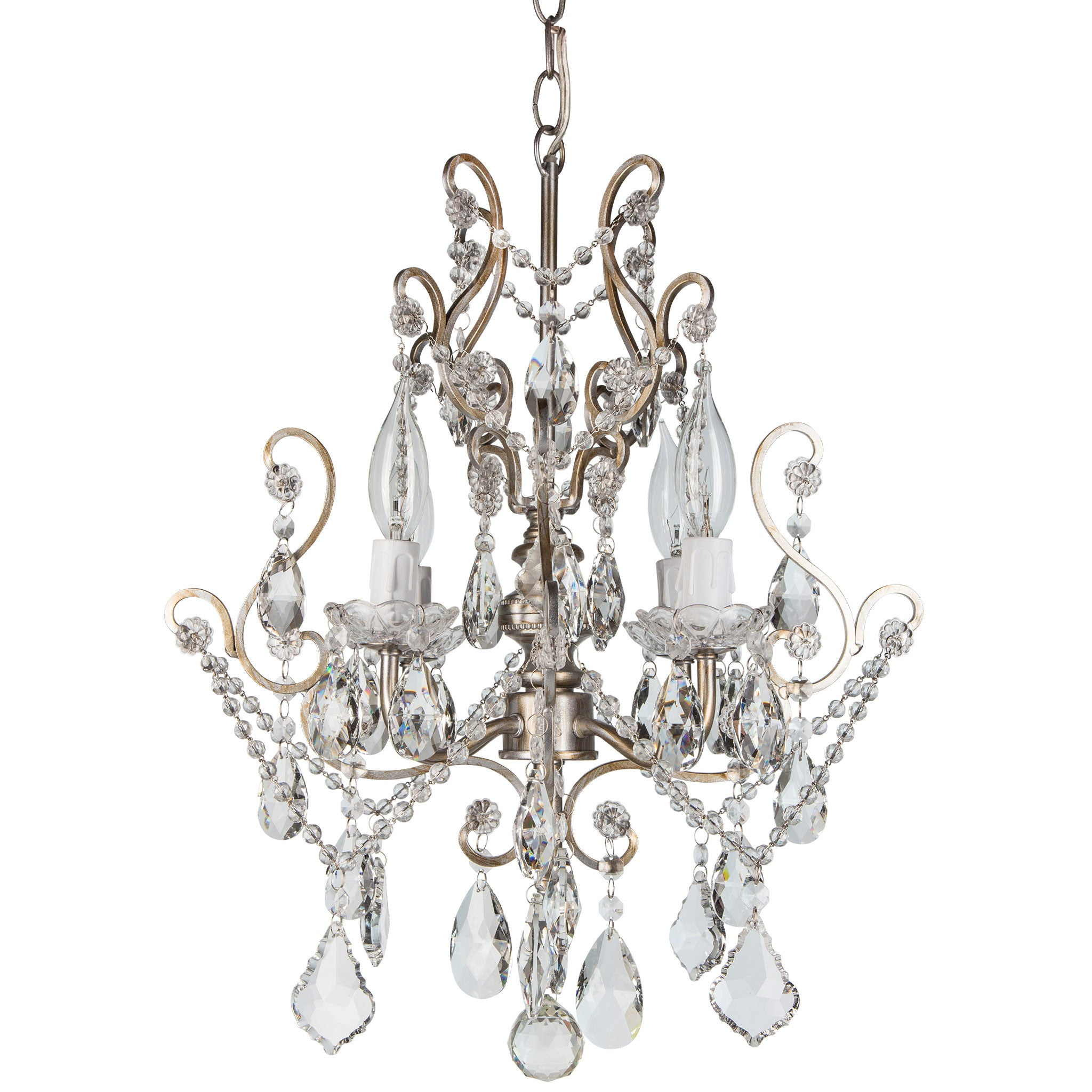 Amalfi Decor 4 Light Vintage Crystal Plug-In Chandelier (Silver) | Wrought Iron Frame with Glass Crystals