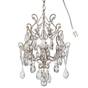 Amalfi Decor Theresa 4-Light Vintage Silver Crystal Pendant Chandelier