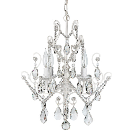 Amalfi Decor Theresa 4-Light White Crystal Pendant Chandelier