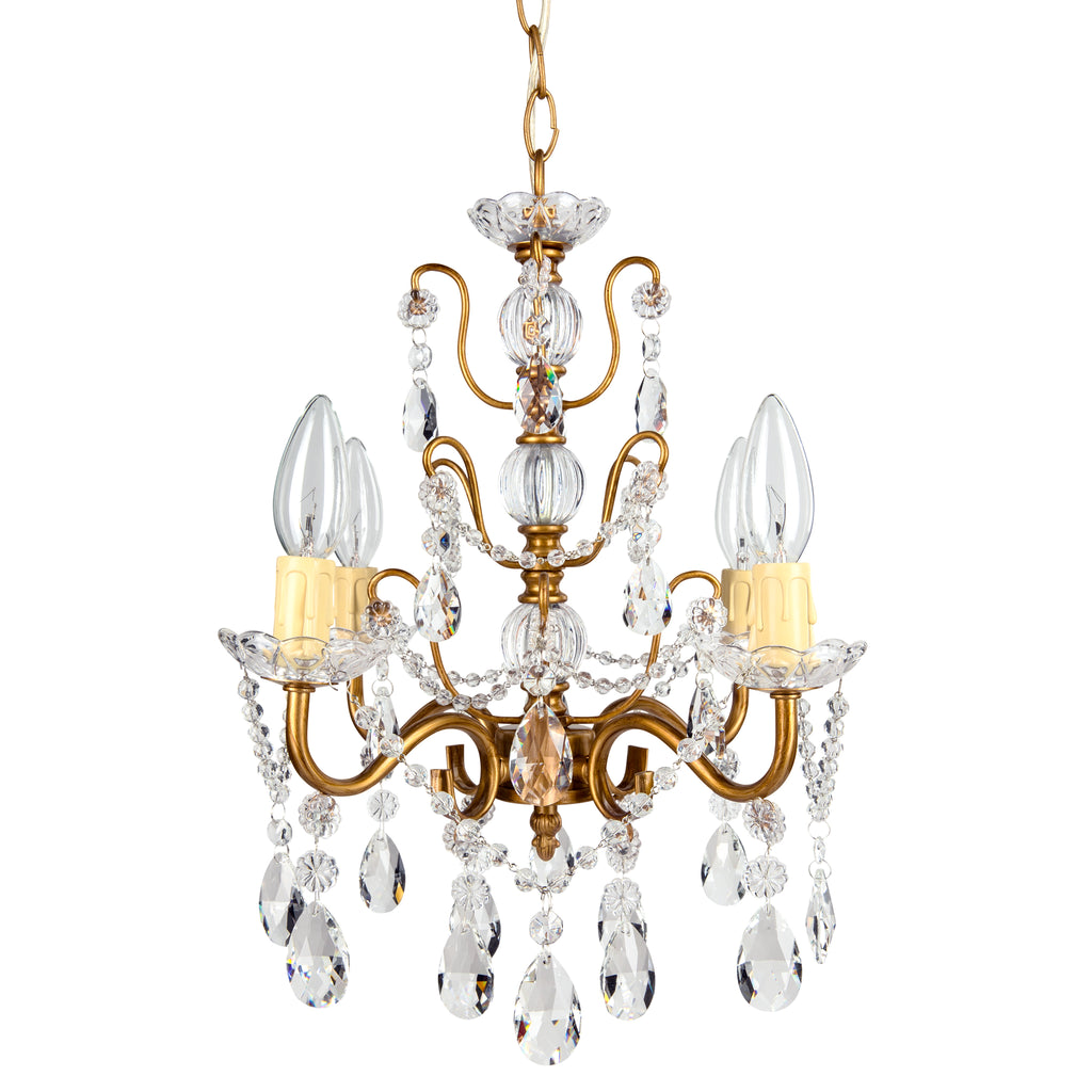 Amalfi Decor Madeleine 4-Light Antique Gold Crystal Pendant Plug-In Chandelier Lighting