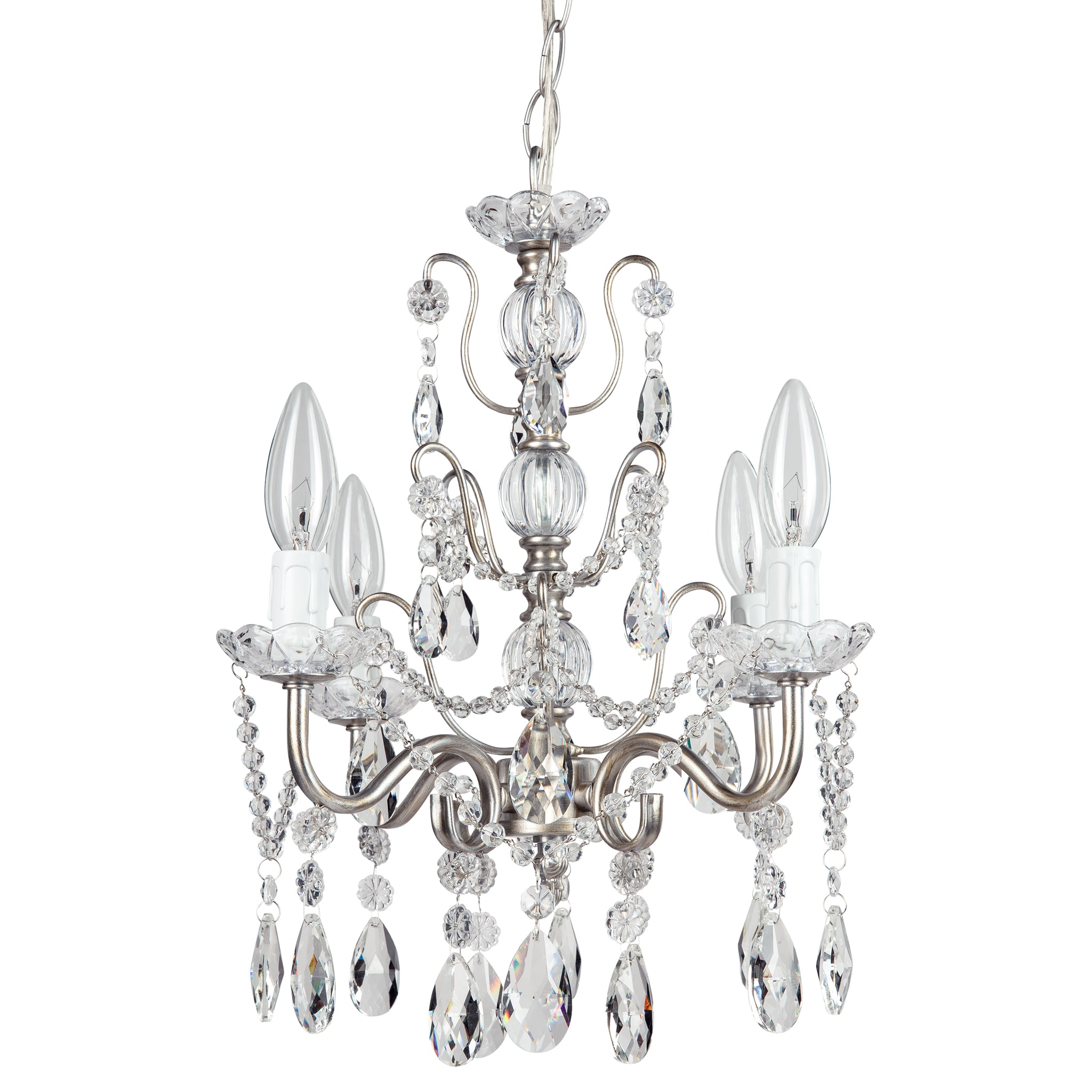Amalfi Decor 4 Light Shabby Chic Crystal Plug-In Chandelier (Silver) | H | Wrought Iron Frame with Glass Crystals