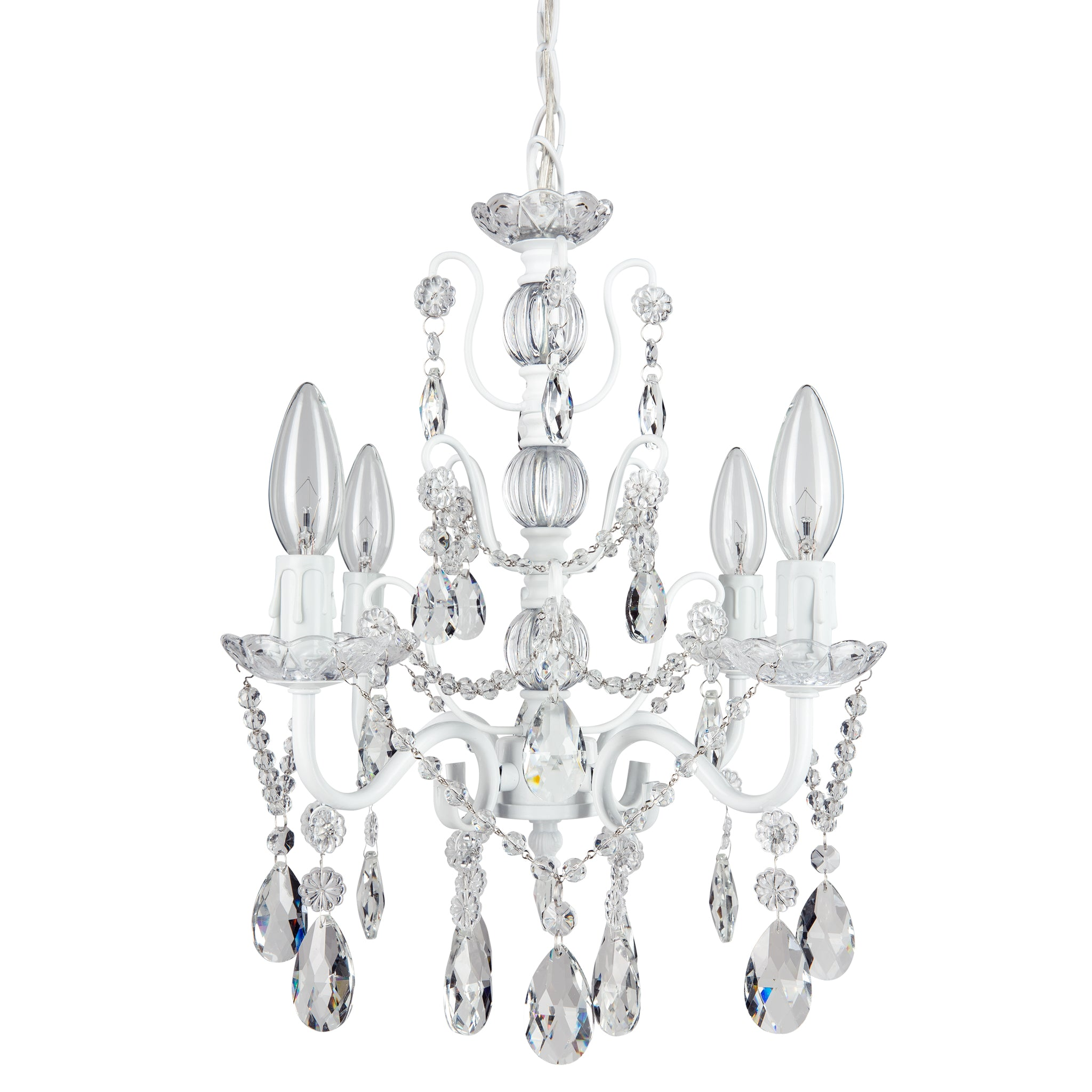 Amalfi Decor 4 Light Shabby Chic Crystal Plug-In Chandelier (White) | H | Wrought Iron Frame with Glass Crystals