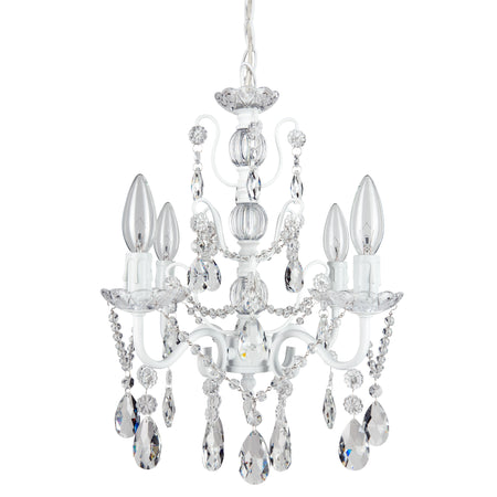 Amalfi decor madeleine 4 light white crystal pendant plug in chandelier lighting