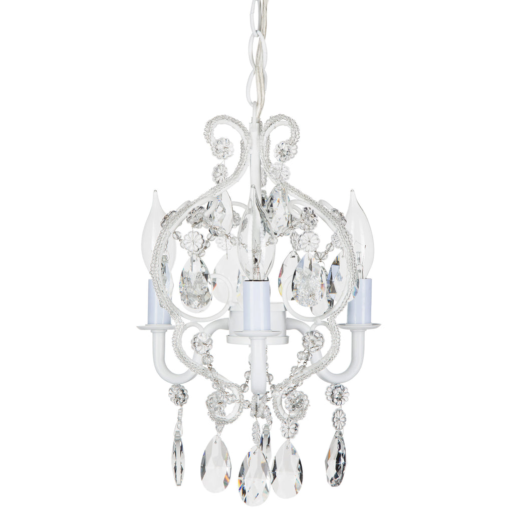 Tiffany white crystal beaded mini plug in chandelier amalfi decor amalfi decor tiffany mini 3 light white crystal beaded nursery plug in chandelier lighting arubaitofo Image collections