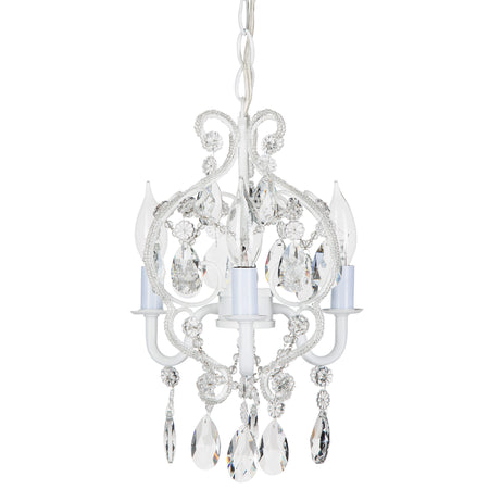 Amalfi decor tiffany mini 3 light white crystal beaded nursery plug in chandelier lighting