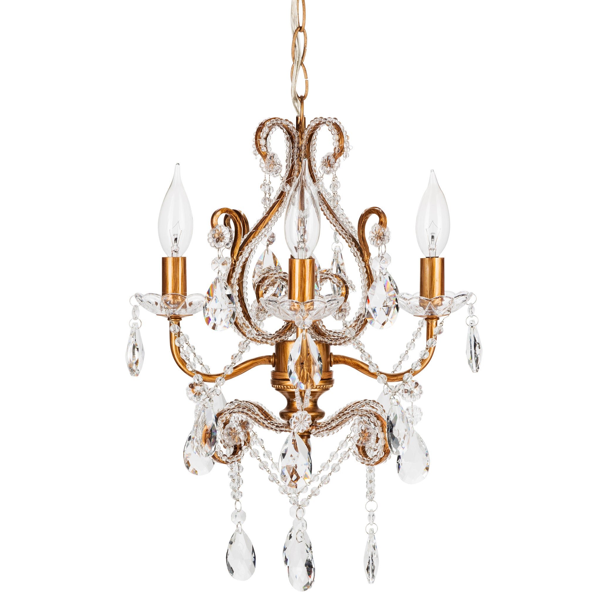Amalfi Decor 4 Light Mini Crystal Beaded Plug-In Chandelier (Gold) | Wrought Iron Frame with Glass Crystals