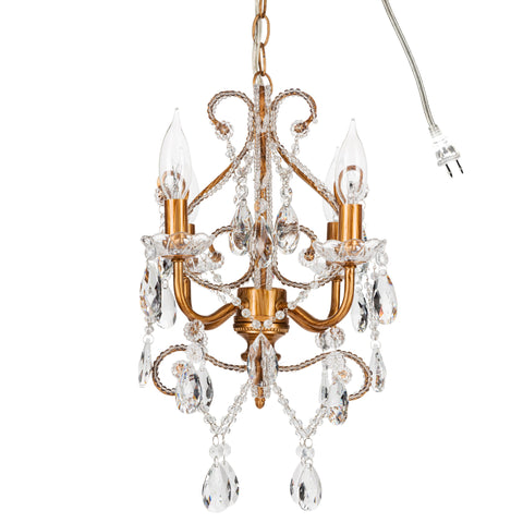Amalfi Decor Josephine 4 Light Gold Crystal Beaded Mini Chandelier