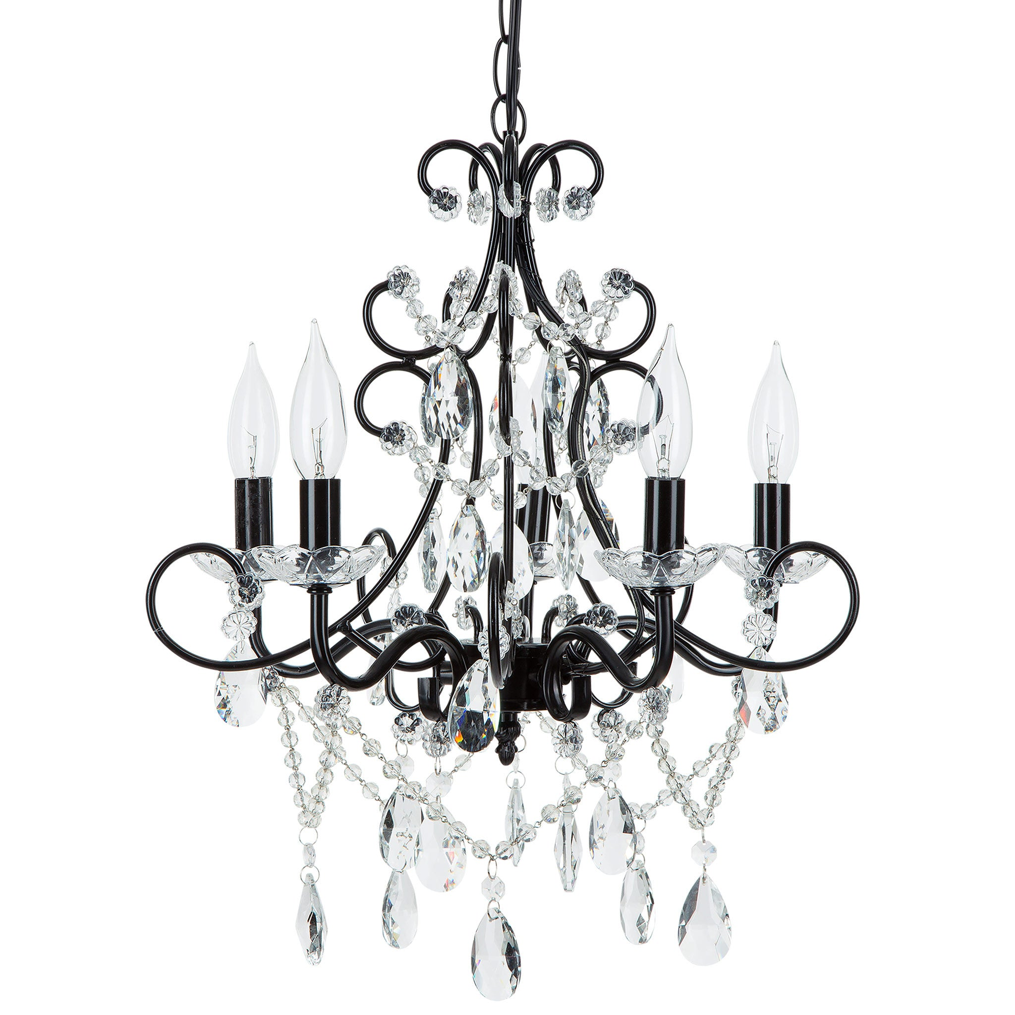 Amalfi Decor 5 Light Classic Crystal Plug-In Chandelier (Black) | Wrought Iron Frame with Glass Crystals
