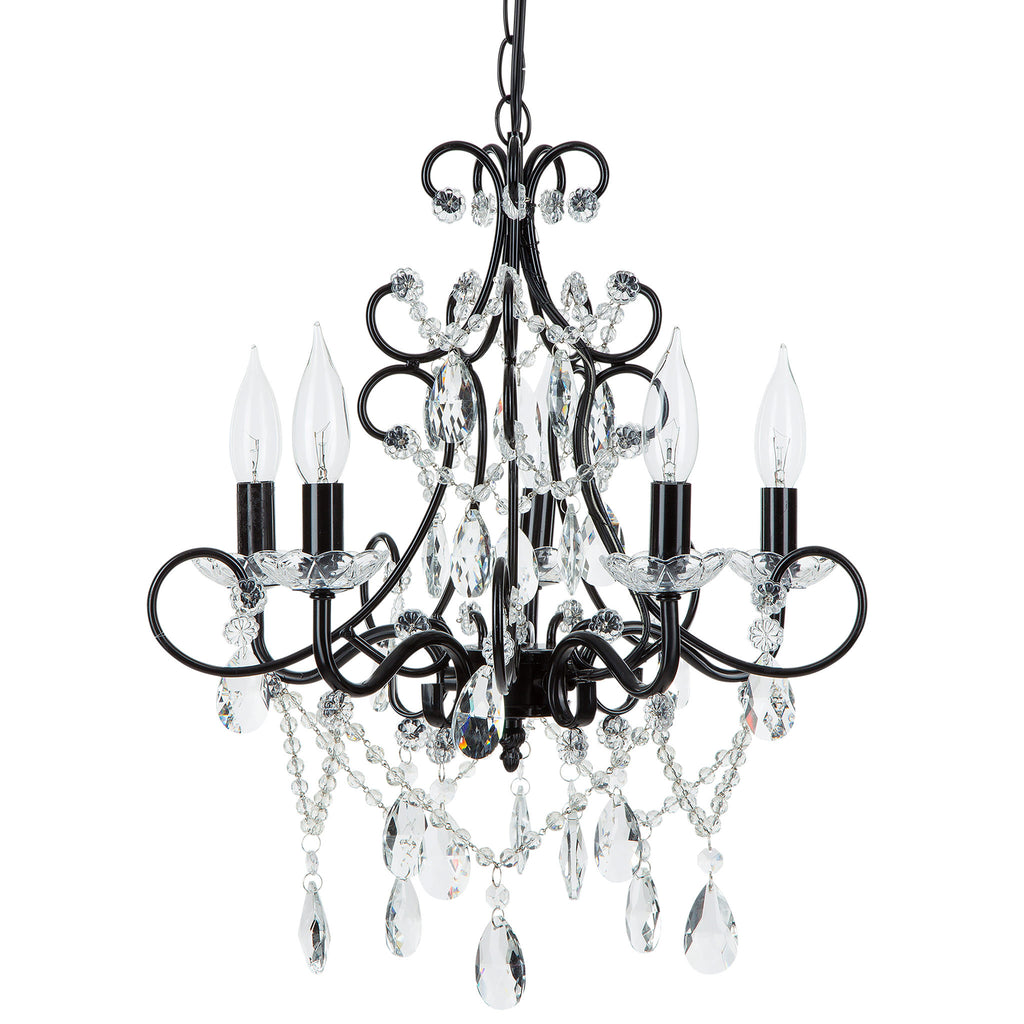 Madeleine vintage black 5 light plug in chandelier amalfi decor amalfi decor theresa 5 light black crystal pendant plug in chandelier lighting aloadofball Image collections