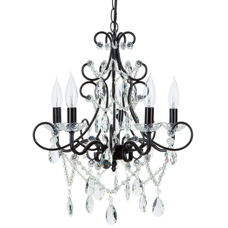 Amalfi Decor Theresa 5 Light Black Crystal Pendant Plug-In Chandelier Lighting