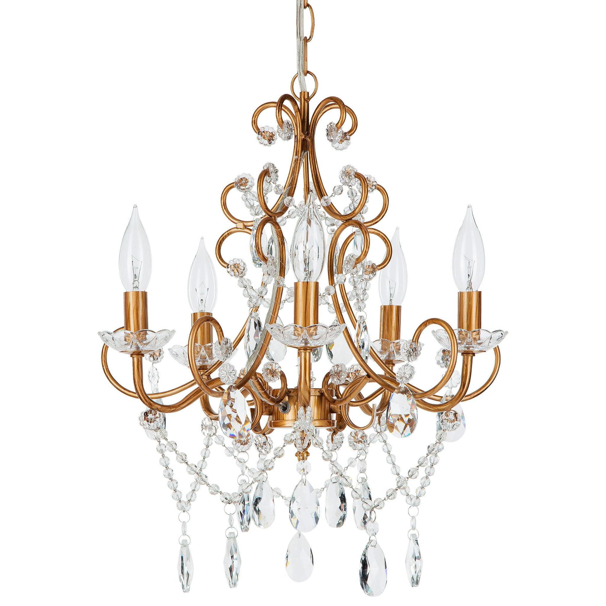 Amalfi Decor 5 Light Classic Crystal Plug-In Chandelier (Gold) | Wrought Iron Frame with Glass Crystals