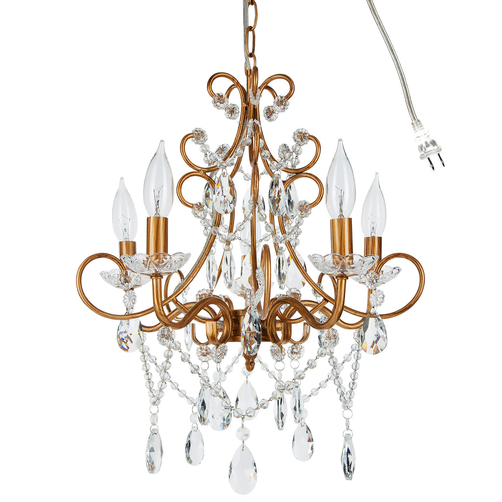 chandelier crystal decor pendant chic madeleine light in theresa plug vintage products amalfi gold collection lighting swag