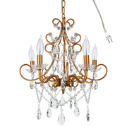 Amalfi Decor Theresa 5 Light Vintage Gold Crystal Pendant Plug-In Chandelier Lighting