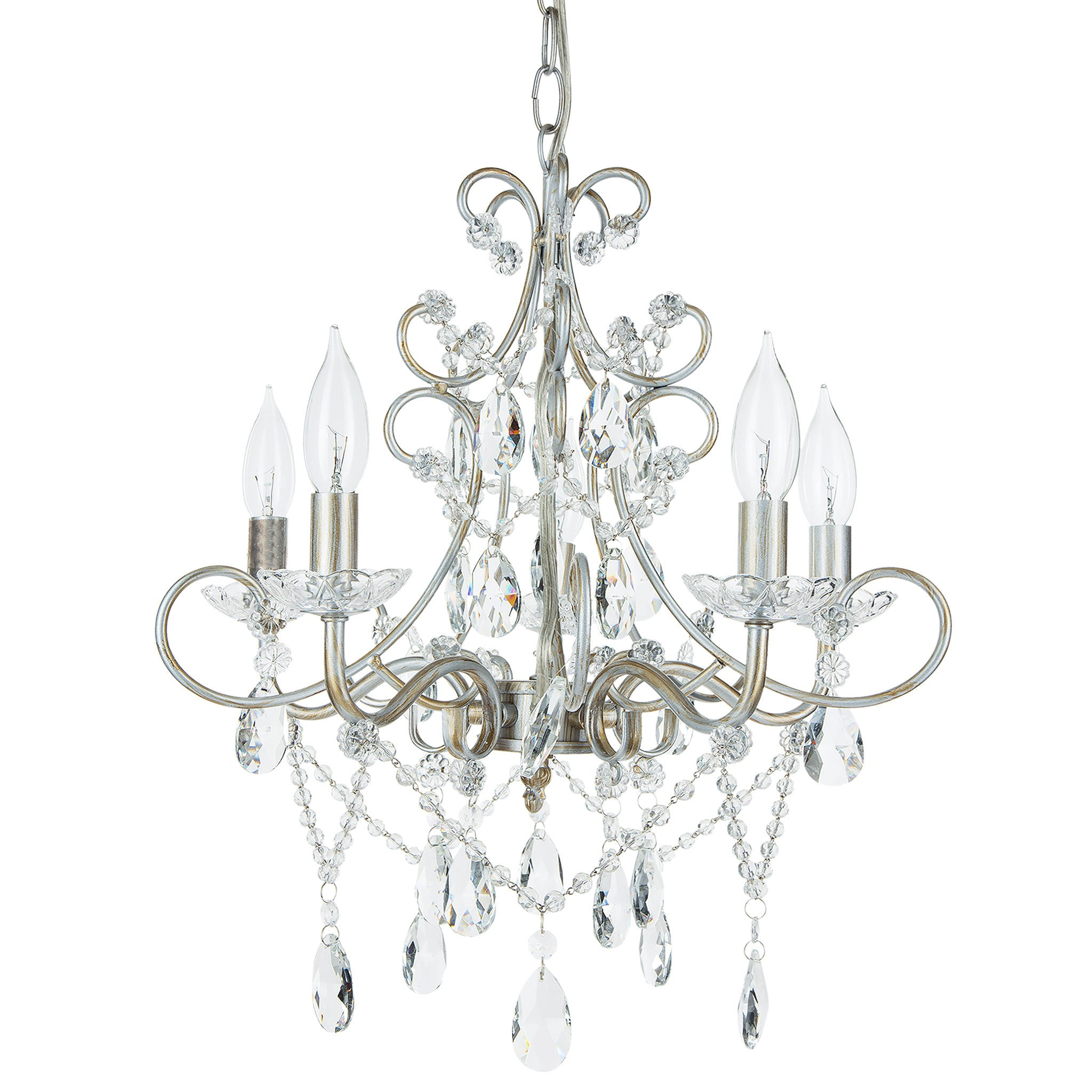Amalfi Decor 5 Light Classic Crystal Plug-In Chandelier (Silver) | Wrought Iron Frame with Glass Crystals