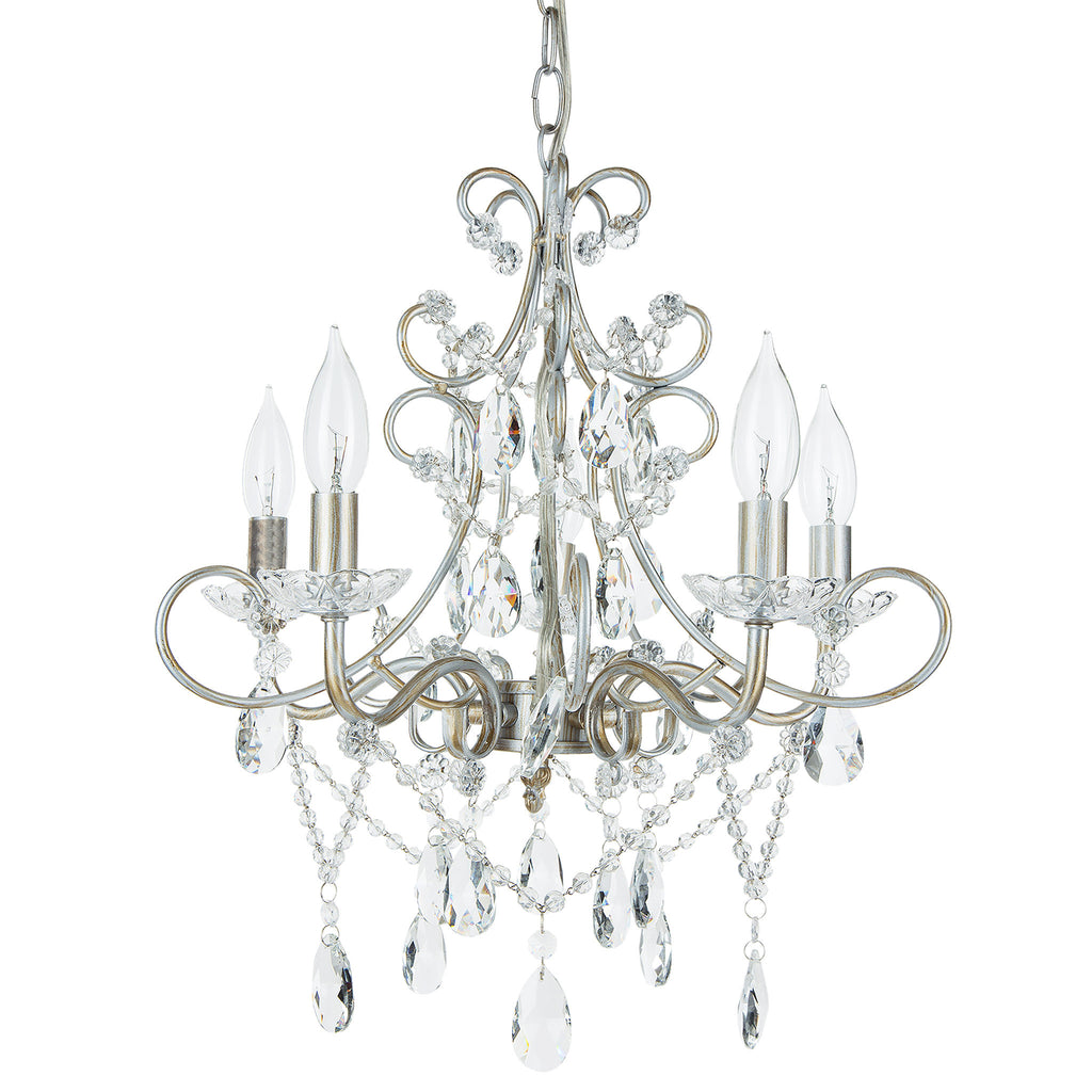Amalfi Decor Theresa 5 Light Vintage Silver Crystal Pendant Plug-In Chandelier Lighting