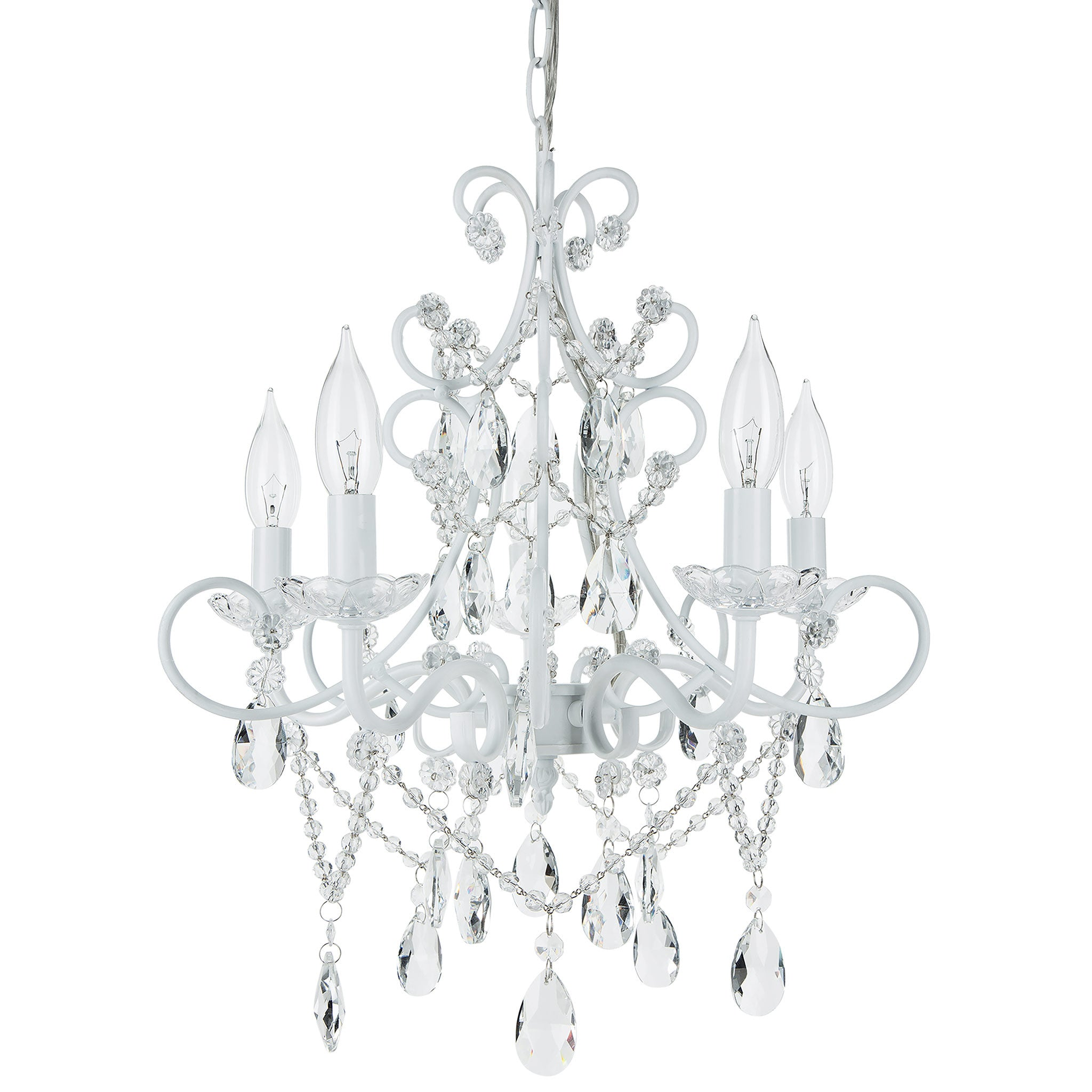Amalfi Decor 5 Light Classic Crystal Plug-In Chandelier (White) | Wrought Iron Frame with Glass Crystals
