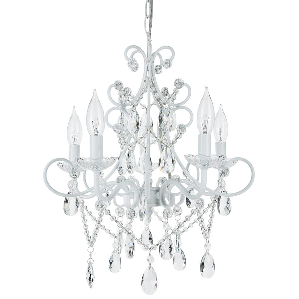 Amalfi Decor Theresa 5 Light White Crystal Pendant Plug-In Chandelier Lighting