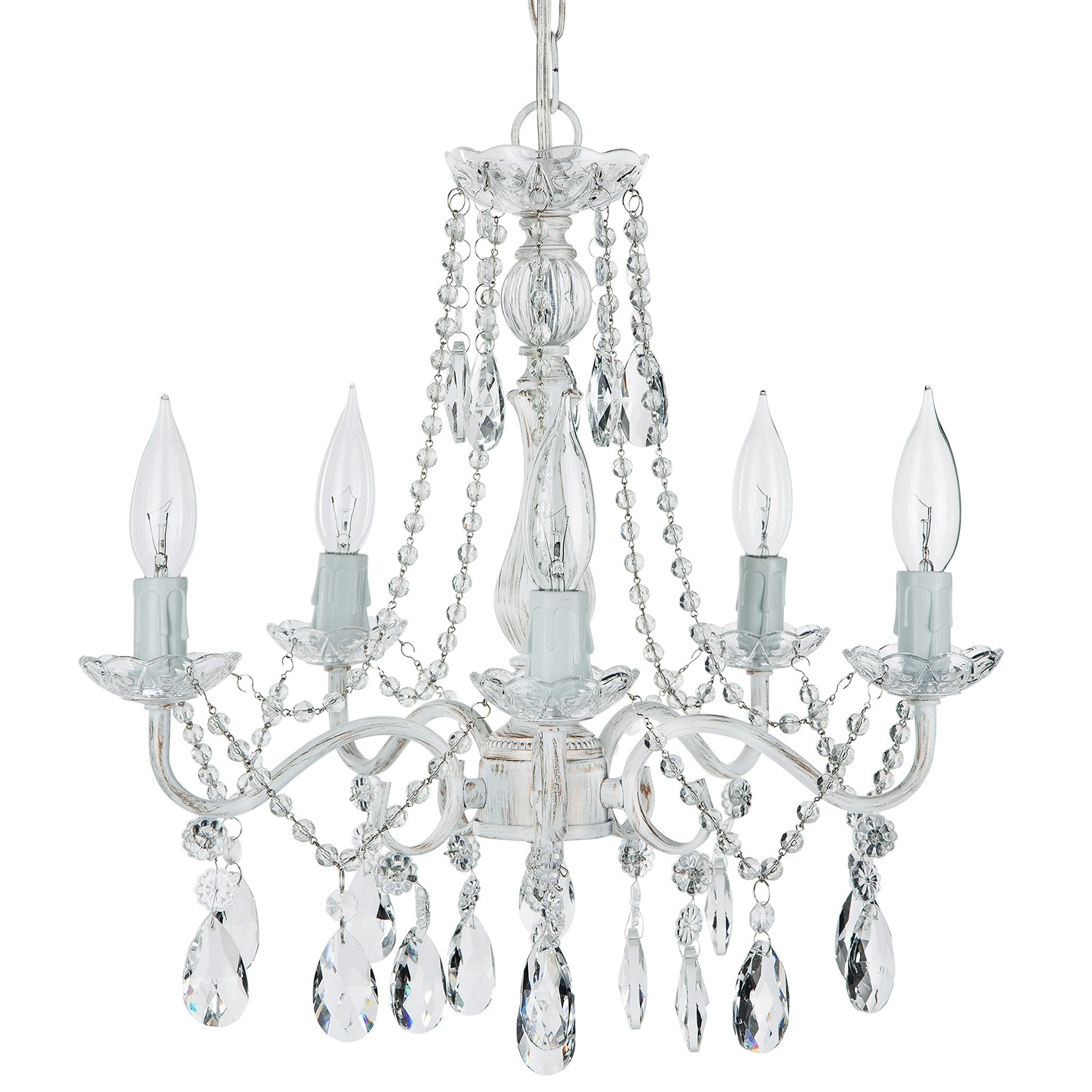 Amalfi Decor 5 Light Swoop Arm Crystal Plug-In Chandelier (Whitewashed) | Wrought Iron Frame with Glass Crystals