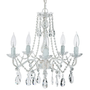Amalfi Decor Elizabeth White Washed 5 Light Crystal Draped Pendant Plug-In Chandelier Lighting